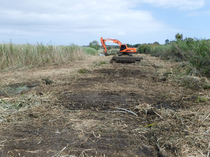 Vegetation control involves mulching of overgrowth within a waterway.